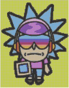 Vaporwave Rick Perler Template (Pocket Mortys) by SnakeHugz Fuse Beads, Perler Beads, Beaded Cross Stitch, Cross Stitch Patterns, Graph Paper Art, Perler Patterns, Rick And Morty, Vaporwave, Cross Stitching