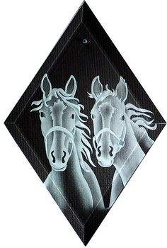 Carved Glass Horse Duo Hanging Suncatcher by braithwaitestudios Glass Etching, Etched Glass, Cute Hoodie, Sun Catcher, Beveled Glass, Dark Backgrounds, Stuff To Do, Moose Art, Creatures