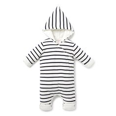 100% Cotton Jumpsuit in 1x1 rib. Jersey, long sleeve wrap around jumpsuit in all over yarn dyed stripe. Regular fitting silhouette with snaps at gusset and drown front for easy dressing. Available in Navy.