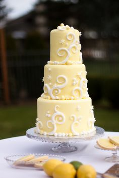 Luscious lemon wedding cake- obviously smaller.  but pretty designs- simple.