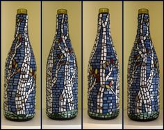 Mosaic birch trees wine bottle by Meaco's Art Garden, via Flickr