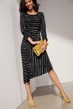 Buy Black Stripe Asymmetric Hem Dress from the Next UK online shop