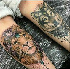Leão e lobo femininos #tatoo