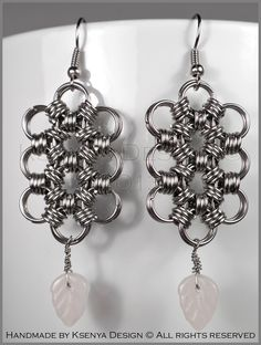Gabrielle - unique chainmaille earrings. #jewelry #ksenyajewelry #earrings #chainmaille #wirejewelry