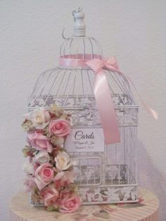 Shabby Chic White #BirdcageWeddingCardHolder | TheWeddingDecorPlace - Wedding on ArtFire http://www.artfire.com/ext/shop/product_view/TheWeddingDecorPlace/9930630/shabby_chic_white_birdcage_wedding_card_holder/handmade/wedding/decorations/centerpieces