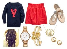 """Lobster Love"" by girlinthepearls ❤ liked on Polyvore featuring J.Crew, Jack Rogers and Kate Spade"