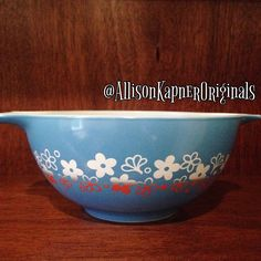 Vintage Pyrex red, white, and blue Spring Blossom Cinderella bowl. Likely a test piece.