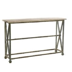 Our Client Fell In Love With This Iron And Travertine Console Table, Could  You Blame