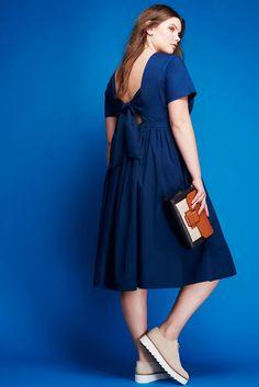 Tie Back Poplin Dress | Blues Traveler Collection | Women's Plus Size Fashion | ELOQUII