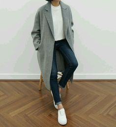 grey coat, jeans and sneakers - ̗̀ make art, be art ̖́- pinterest | @eveniingtalks tumblr | @stormyglo
