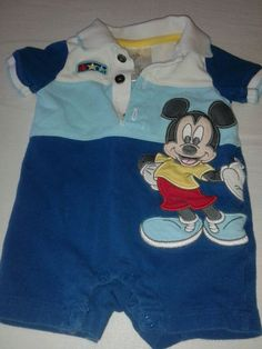 #disney #baby boy mickey mouse one piece romper blue 0-3 months short sleeved from $6.99