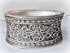 Hinged Cuff  Bracelet   Wide Concave Repousse by GemstoneCowboy