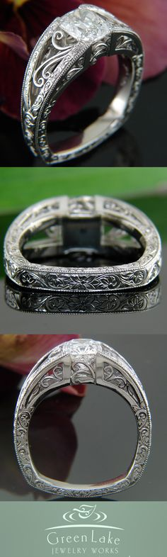 Radiant cut diamond ring in white gold with hand engraved details and intricate filigree.