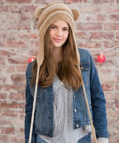 Teddy Love Hat ~ easy knit project, free pattern download   from Red Heart Yarns