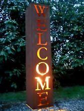 säule mit schale rost welcome willkommen metall gartendeko, Gartenarbeit ideen