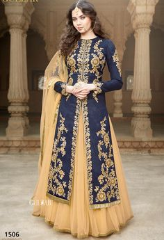 Women s Clothing - Gulzar Banglori Silk Blue Lehenga Style Anarkali Suit - 1506 - Soothing color with beautifully placed embroidery, elegance at its best.Salwaar Suits - Gulzar Banglori Silk Blue Lehenga Style Anarkali Suit - 1506 - So Anarkali Lehenga, Lehenga Suit, Blue Lehenga, Lehenga Style, Silk Lehenga, Anarkali Suits, Indian Anarkali, Indowestern Lehenga, Long Anarkali