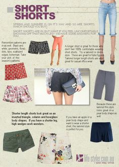 How to wear summer shorts.  Short shorts for spring and summer.  Which style will suit you?  http://life-styler.com.au/fashion-new-trends/latest-fashion-trends-summer-shorts-for-all-body-shapes/ #summershorts