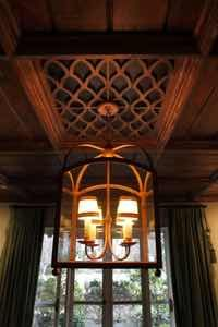 The unique ceiling in the dining room is a Dilbeck trademark.