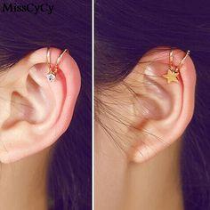 זול 2016 מכירה חמה אופנה חדשה כוכב פרחי יהלומים מלאכותיים תכשיטי Pendientes עגילי קליפ לב לנשים, לקנות איכות עגילי קליפ ישירות מספקי סין:                                         MissCyCy Punk Rock Leaf Chain Tassel Dangle Ear Cuff Wrap Earring Plated G