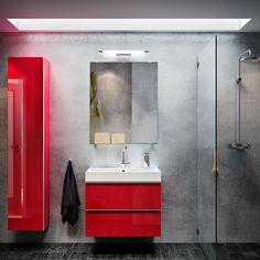 Snyggt mörkt badrum från IKEA! (GODMORGON/BRÅVIKEN kommod i röd högglans med två lådor och GODMORGON högskåp)