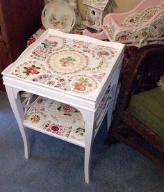 2 Tiered White Mosaic Tile Table by hillspeak, via Flickr