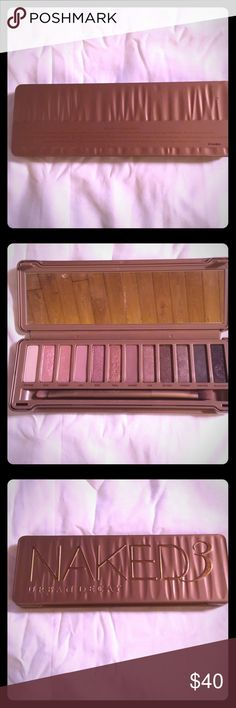 Urban Decay Naked 3 palette Urban Decay Naked 3. Very gently used. Most colors untouched. See photo. Brush included. No box. Sanitized and ready to go. 100% Authentic. Has authentication code on back. No trades. Reasonable offers welcome. Urban Decay Makeup Eyeshadow