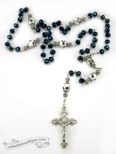 Dark Blue Crystal Rosary $36 #rosary #rosaries #gift #confirmation #prayer #devotional #gifts #blue #catholic #christian #Jesus #Christ #crucifix #rose #decade