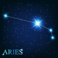 Image of 'vector of the aries zodiac sign of the beautiful bright stars on the background of cosmic sky' on Colourbox