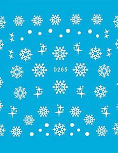 5PCS Colorful White Nail Art Stickers Snow Series Cartoon – USD $ 3.19