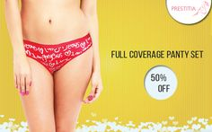 Get 50% discount on Full Hip coverage Panty Set on Prestitia. Shop now on http://www.prestitia.co.in/details/full-coverage-panty-set-in-assorted.html
