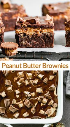 WOW these Peanut Butter Brownies are AMAZING! Thick and chewy chocolate brownies topped with peanut butter frosting, chocolate glaze and mini Reese's peanut butter cups. #brownies #peanutbutter #dessert Turtle Brownies, Smores Brownies, Chewy Brownies, Homemade Brownies, Cheesecake Brownies, Brownie Toppings, Brownie Recipes, Cookie Recipes, Peanut Butter Frosting