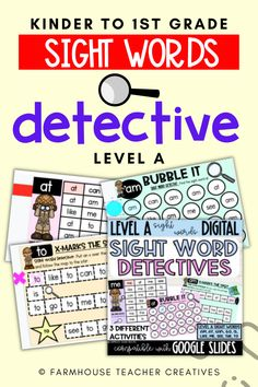 Detective themed sight word Level A activities for kinder to first grade students. Helping to boost creativity for kids with themed lessons has helped their learning a lot. Teacher tips for sight words lesson. How to teach sight words the easy way. First Grade, Grade 1, Boost Creativity, Sight Word Activities, Teacher Hacks, Sight Words, Detective, Kindergarten, Students