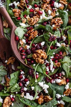 """Winter Pomegranate Salad with Maple Candied Walnuts My go-to """"house"""" salad. Pairs perfectly with any meal.make it on repeat all winter long! - Winter Salad with Maple Candied Walnuts + Balsamic Fig Dressing Vegetarian Recipes, Cooking Recipes, Healthy Recipes, Dressing Recipe, Italian Dressing, Salad Dressing, Candied Walnuts, Candied Walnut Salad, Vegetarian Food"""