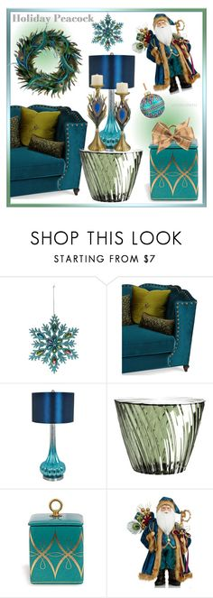 """Holiday Peacock!"" by whirlypath ❤ liked on Polyvore featuring interior, interiors, interior design, home, home decor, interior decorating, Haute House, Crestview Collection, Kartell and Holiday Lane"