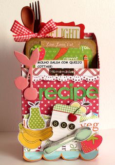 Recipe Box -- made from an old milk carton