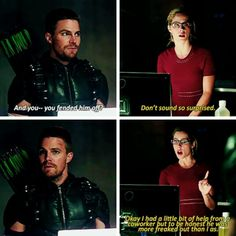 """Your meta came to retrieve his ace of spades"" - Oliver & Felicity #Olicity #Season4 #4x03"