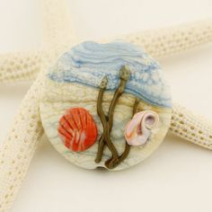 Lampwork Glass Focal Bead Etched Matte by StoneDesignsbySheila