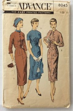 Vintage Advance 8045 Sheath Dress & Jacket Sewing Pattern Size 14 Bust by on Etsy Vintage Dress Patterns, Vintage 1950s Dresses, Clothing Patterns, Vintage Outfits, Vintage Fashion, Barbie Patterns, Vintage Clothing, Retro Pattern, Pattern Sewing
