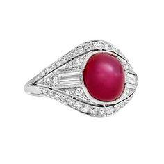 Estate Raymond C. Yard Art Deco Star Ruby & Diamond Ring