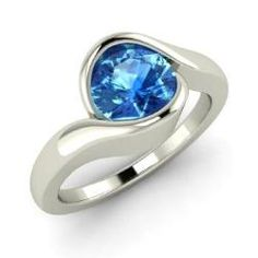 Walenty - Round Blue Topaz Engagement Ring in Sterling Silver
