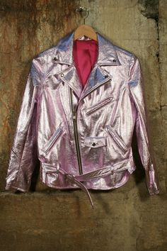 METALLIC PINK LEATHER YA Pink Motorcycle, Motorcycle Jacket, Biker Chic, Metallic Pink, Pink Leather, Business Casual, Nyc, Punk, Leather Jacket