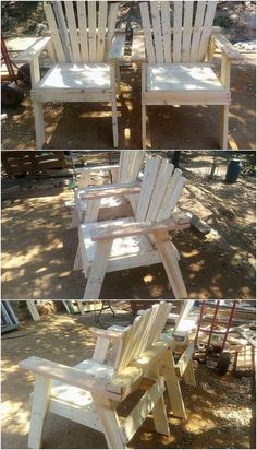 Easiest Ideas with Shipping Wood Pallets: We all know the fact that if you are a beginner in searching for the wood pallet projects for your house, then for sure foremost you would. Wooden Chair Makeover, Wooden Chair Plans, Old Wooden Chairs, Chair Design Wooden, Old Chairs, Eames Chairs, Metal Chairs, Outdoor Chairs, Pink Chairs