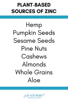 Wellness Tips, Health And Wellness, Health Tips, Sources Of Zinc, Vegan Foods, Make Time, Almonds, Healthy Habits, Hemp