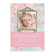 Shabby Chic Vintage Baby Photo Birth Announcement - Printable, Digital File