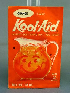 Orange Kool Aid. This is his favorite. It can be found in our refrigerator at all times. LWB