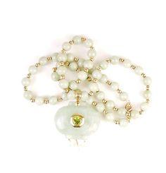 Vintage Green Quartz Necklace with Quartz Pendant 14K Yellow Gold