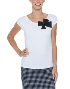 White Jersey Top with Removable Bow | Paule Ka | Halsbrook