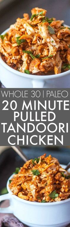 20 Minute Stovetop Pulled Tandoori Chicken (Whole 30 Paleo)- Friendly juicy moist and EASY pulled tandoori chicken perfect for a low carb high protein and flavorful meal- Lunch dinner and freezer friendly! {paleo gluten free http:/ Healthy Recipes, Clean Eating Recipes, Indian Food Recipes, Low Carb Recipes, Real Food Recipes, Chicken Recipes, Healthy Eating, Cooking Recipes, Protein Recipes