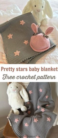 Baby Knitting Patterns Free baby blanket crochet pattern with cute stars. Ideal for...