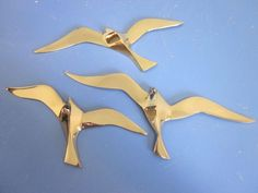 Danish modernist wall deco birds SWALLOWS brass era Wegner 50s 60s mid-century